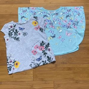 lot of 2 H&M butterfly print tops grey green 2-4Y